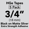 "HGe 3/4"" extra strength Black on Matte Silver"