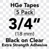 "3/4"" HGe extra strength black on clear"