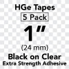 "1"" HGe extra strength black on clear"