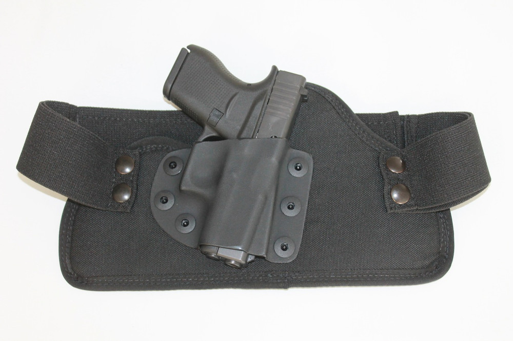 The Glock 43 shown in the TRR IWB Concealed Carry Holster. A total concealed carry solution from sub-compact sized guns to full size firearms.