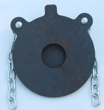 """10"""" AR500 Bullseye Steel Shooting Target in 3/8"""" thickness. Front finished view."""