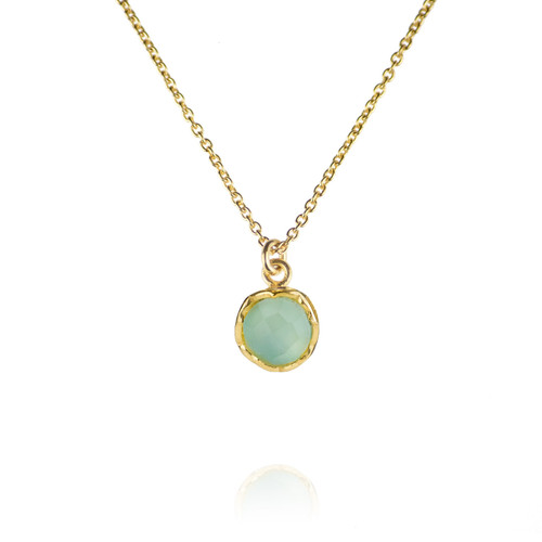 Dosha Necklace - Gold - Aqua Chalcedony