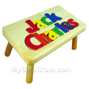 puzzle stool shown with primary letters