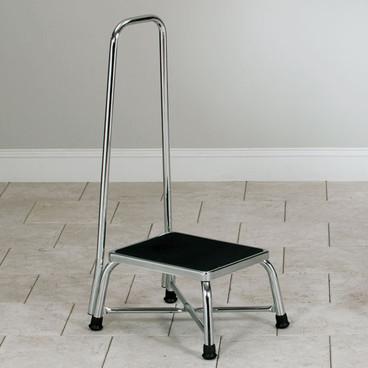 Chrome Bariatrics Step Stool With Handrail