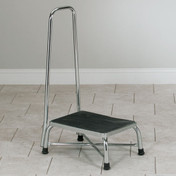 Chrome Extra Wide Bariatrics Step Stool with Handrail