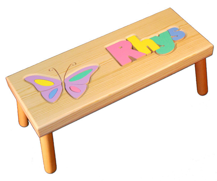 Butterfly And Name Puzzle Step Stool