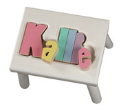 Maple Puzzle Stool in White