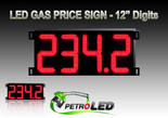 "Gas Price LED Sign (Digital)  12"" Red with 4 Large Digits - 5 Year Warranty"