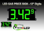 "Gas Price LED Sign (Digital)  12"" Green with 3 Large Digits & 1 small digit - 5 Year Warranty"