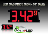 "Gas Price LED Sign (Digital)  16"" Red with 3 Large Digits & 1 small digit - 5 Year Warranty"