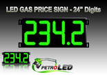 "Gas Price LED Sign (Digital)  24"" Green with 4 Large Digits - 5 Year Warranty"