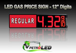 "12"" REGULAR Gas Price LED Sign - Red LEDs with 3 Large Digits & fraction digits - Lighted Section to the left - 5 Year Warranty"