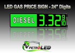 "24"" DIESEL Gas Price LED Sign - Green LEDs with 3 Large Digits & fraction digits - Lighted Section to the left - 5 Year Warranty"
