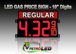"10"" REGULAR Gas Price LED Sign - Red LEDs with 3 Large Digits & fraction digits - Top Section lighted - 5 Year Warranty"