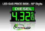 "16"" DIESEL Gas Price LED Sign - Green LEDs with 3 Large Digits & fraction digits - Top Section lighted - 5 Year Warranty"