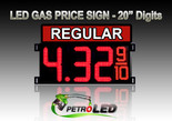 "20"" REGULAR Gas Price LED Sign - Red LEDs with 3 Large Digits & fraction digits - Top Section lighted - 5 Year Warranty"