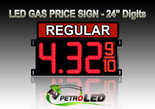 "24"" REGULAR Gas Price LED Sign - Red LEDs with 3 Large Digits & fraction digits - Top Section lighted - 5 Year Warranty"