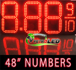 "Gas Price LED Sign (Digital)  48"" Red with 3 Large Digits & fraction digits - 5 Year Warranty"