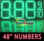 "Gas Price LED Sign (Digital) 48"" Green with 3 Large Digits & fraction digits - 5 Year Warranty"