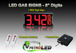 "8 Inch Digits - LED Gas sign package - 1 Red Digital Price Gasoline LED SIGNS - Complete Package w/ RF Remote Control - 26""x11"""