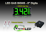 "8 Inch Digits - LED Gas sign package - 1 Green Digital Price Gasoline LED SIGNS - Complete Package w/ RF Remote Control - 26""x11"""