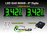"8 Inch Digits - LED Gas sign package - 2 Green Digital Price Gasoline LED SIGNS - Complete Package w/ RF Remote Control - 26""x11"""
