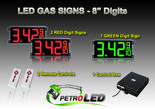 "8 Inch Digits - LED Gas sign package - 2 Red & 1 Green Digital Price Gasoline LED SIGNS - Complete Package w/ RF Remote Control - 26""x11"""