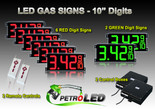 "10 Inch Digits - LED Gas sign package - 6 Red & 2 Green Digital Price Gasoline LED SIGNS - Complete Package w/ RF Remote Control - 28""x13"""