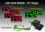 "12 Inch Digits - LED Gas sign package - 4 Red & 2 Green Digital Price Gasoline LED SIGNS - Complete Package w/ RF Remote Control - 33""x15"""