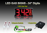 "24 Inch Digits - LED Gas sign package - 1 Red Digital Price Gasoline LED SIGNS - Complete Package w/ RF Remote Control - 65""x27"""