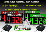 "16 Inch Digits - LED Gas sign package - 2 Red (REGULAR) & 2 Green (DIESEL) Digital Price Gasoline LED SIGNS - Complete Package w/ RF Remote Control - 42""x30"""