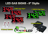 "8 Inch Digits - LED Gas Price signs - 4 Red & 2 Green Digital Price Gasoline LED SIGNS - Complete Package w/ RF Remote Control - 26""x11"""