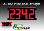 "Gas Price LED Sign (Digital)  8"" Red with 4 Large Digits - 5 Year Warranty"