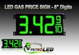 "Gas Price LED Sign (Digital)  8"" Green with 3 Large Digits & fraction digits - 5 Year Warranty"