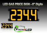 "Gas Price LED Sign (Digital)  8"" Amber (Yellow) with 4 Large Digits - 5 Year Warranty"