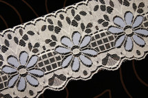 "4"" Ivory Blue Floral Lace Trim Wholesale"