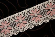 "Dusty Rose Floral Ivory Lace Trim Wholesale 2-1/2"" wide"