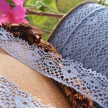 Dusty Blue Cluny Style Wholesale Lace Trim