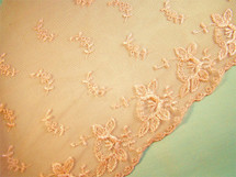 "9 1/2"" Peach Scalloped Embroidery Lace on Net LT-179"
