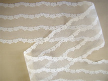 "3 1/2"" Pure White Embroidery Floral Lace on Net LT-311"