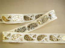 "1"" Gold Silver Paisley Metallic Trim on Off White LT-341"