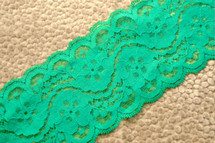 "3 1/2"" Spring Green Floral Galloon Lace Trim #1009"