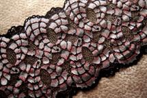 "6 3/4"" Black Sheen Silver Pink Vintage Galloon Lace Trim #1022"