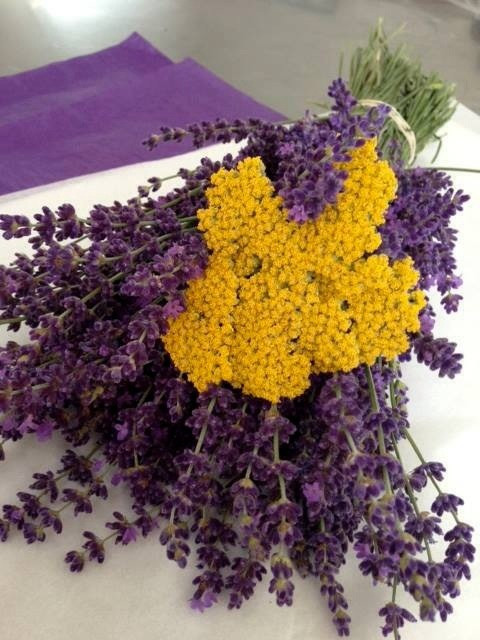 Lavender and yarrow mixed bouquet.