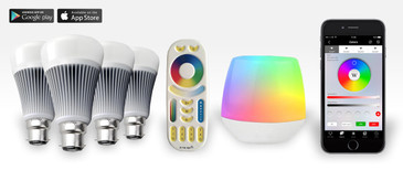 4 Easybulb RGBW 9W LED Light Bulb + WIFI Box + Remote Control