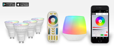 4 Easybulb GU10 RGBW Spotlight Bundle Wifi Box and Remote Control