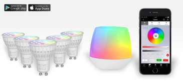 5 Easybulb GU10 RGBW Spotlight Bundle With Wifi Box Controller