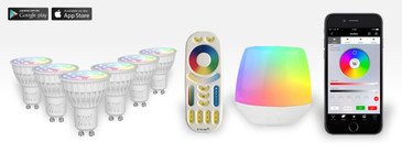 6 Easybulb GU10 RGBW Spotlight Bundle Wifi Box and Remote Control