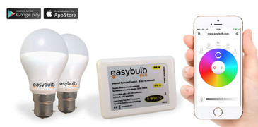 2 x Easybulb Plus Round RGBW 6W Light Bulb + Wifi Box Controller