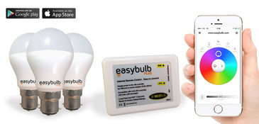 3 x Easybulb Plus Round RGBW 6W Light Bulb + Wifi Box Controller